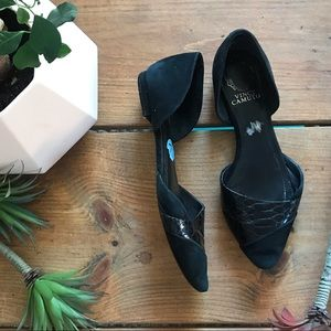 Vince Camuto black suede  D'orsay flats 7.5